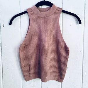 Kendall & Kylie Taupe Sweater Crop Top